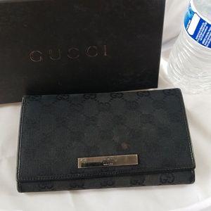 Gucci Black Monogram Frame Wallet